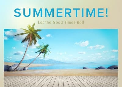 Image of summertime with palm trees and beach.